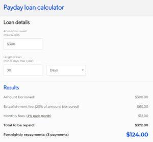 300 dollar loan calculator