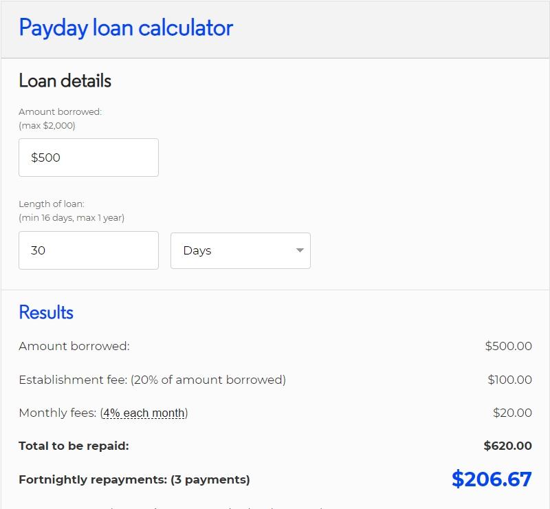 500 dollar loan calculator