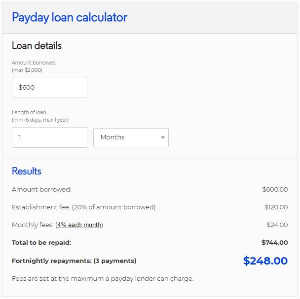 600 dollar loan calculator