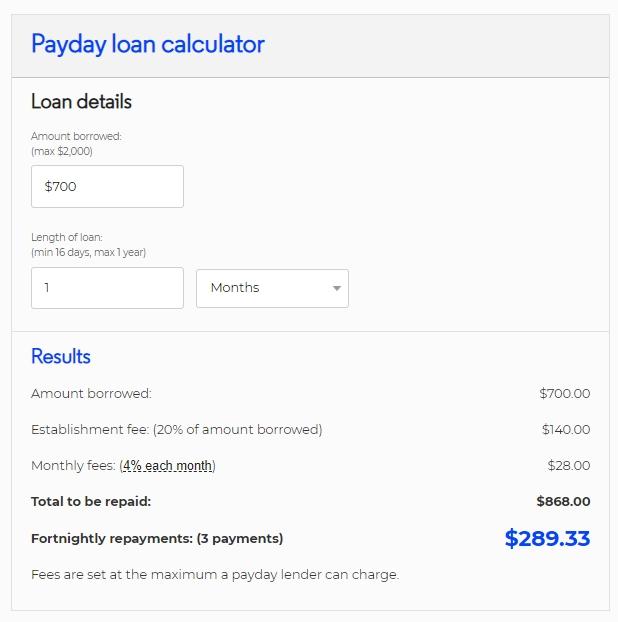 700 dollar payday loan calculator