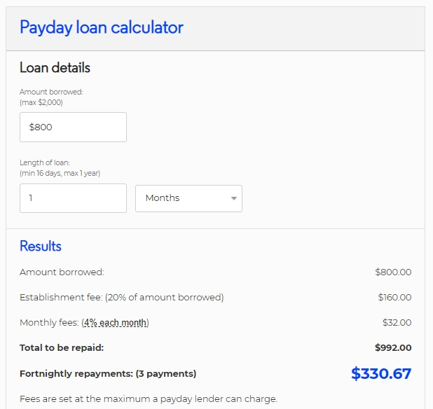 800 dollar payday loan calculator
