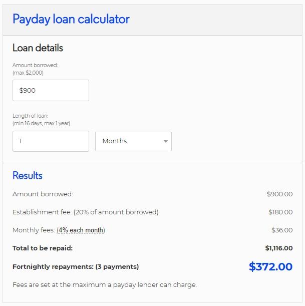 900 payday loan calculator